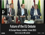 EU Debate. From left to right: Professor Simon Hix, MEPs Martin Callanan and Guy Verhofstadt. Click to watch the full debate on the BBC (88 minutes)