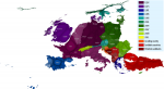 This map shows European countries using a rainbow colour scale to determine the colour hue for each state according to the year of association with the European Union. The more recent the formal association the near to the red end of the spectrum the hue is.