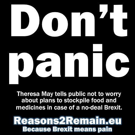 Don't panic, says Theresa May